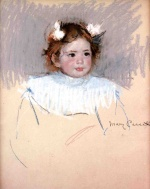 Mary Cassatt  - Bilder Gemälde - Ellen with Bows in Her Hair, Looking Right