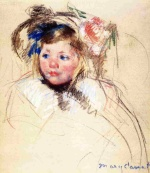 Mary Cassatt  - Bilder Gemälde - Head of Sara in a Bonnet Looking Left
