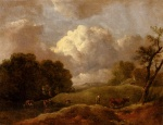 Thomas Gainsborough - paintings - An Extensive Landscape With Cattle And A Drover