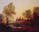 Thomas Gainsborough - paintings - Evening Landscape (Peasants and Mounted Figures)
