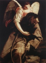 Orazio Gentileschi - paintings - St Francis and the Angel