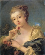 Francois Boucher  - Bilder Gemälde - Young Woman with a Bouquet of Roses