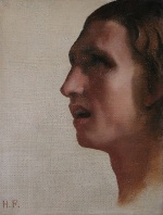 Hippolyte Flandrin - Bilder Gemälde - Head of a Man in Profile
