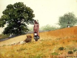 Winslow Homer - Bilder Gemälde - Boy and Girl on a Hillside