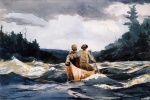 Winslow Homer  - Bilder Gemälde - Canoe in the Rapids