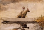 Winslow Homer  - Bilder Gemälde - Fishing in the Adirondacks