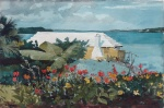 Winslow Homer  - Bilder Gemälde - Flower Garden and Bungalow, Bermuda