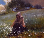 Winslow Homer  - Bilder Gemälde - Girl and Daisies