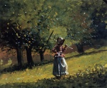 Winslow Homer  - Bilder Gemälde - Girl with a Hay Rake