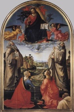 Bild:Christ in Heaven with Four Saints and a Donor