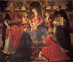 Domenico Ghirlandaio - paintings - Madonna and Child Enthroned between Angels and Saints