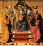 Domenico Ghirlandaio - paintings - Madonna and Child Enthroned with Saints