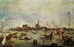 Francesco Guardi - paintings - The Doge on the Bucentaur at San Niccolo del Lido