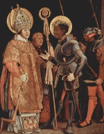 Matthias Gruenewald - paintings - Meeting of St. Erasmus and St. Maurice