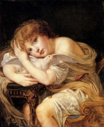 Jean Baptiste Greuze - paintings - A Young Girl Holding a Dove