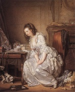 Jean Baptiste Greuze - paintings - The Broken Mirror