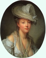 Jean Baptiste Greuze - Bilder Gemälde - Young Woman in a White Hat