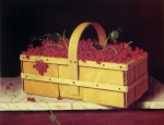 William Michael Harnett - Bilder Gemälde - A Wooden Basket of Catawba Grapes
