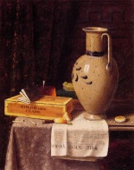 William Michael Harnett - Bilder Gemälde - Cigar Box Pitcher and New York Herald