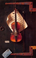 William Michael Harnett - Bilder Gemälde - Still Life (Violin and Music)