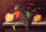 William Michael Harnett - Bilder Gemälde - Still Life with Fruit and Vase