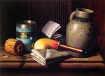 William Michael Harnett - paintings - Still Life with Three Castles Tobacco