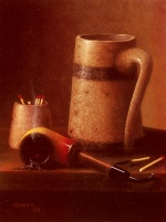 William Michael Harnett - Bilder Gemälde - Still Life, Pipe And Mug