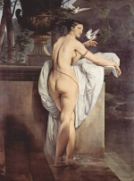Francesco Hayez - paintings - Venus Playing with Two Doves