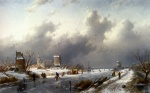 Wilhelm Leibl - Bilder Gemälde - A Frozen Winter Landscape With Skaters