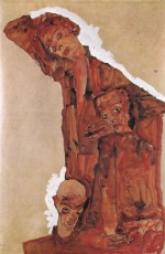 Egon Schiele  - Bilder Gemälde - Composition with three Male Figures