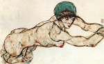 Egon Schiele  - Bilder Gemälde - Female Nude to the Right