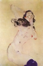 Egon Schiele  - Bilder Gemälde - Female Nude with Blue Stockings