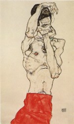 Egon Schiele  - Bilder Gemälde - Male Nude with a Red Loincloth