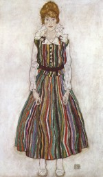 Egon Schiele  - Bilder Gemälde - Portrait of Edith Schiele in a Striped Dress