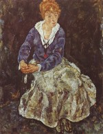 Egon Schiele  - Bilder Gemälde - Portrait of Edith Schiele Seated