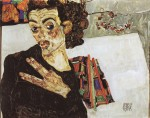Egon Schiele  - Bilder Gemälde - Self Portrait with black Vase