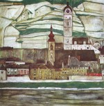 Egon Schiele  - Bilder Gemälde - Stein on the Danube with Terraced Vineyards