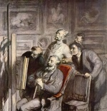 Honoré Daumier - paintings - Die Kunstliebhaber