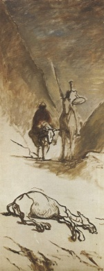 Honoré Daumier - paintings - Don Quichotte und das tote Maultier