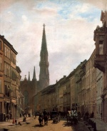 Eduard Gaertner - paintings - Bruederstrasse und Petrikirche