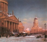 Eduard Gaertner - paintings - Gendarmenmarkt im Winter