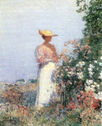 Childe Hassam - paintings - Dame im Blumengarten