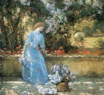 Childe Hassam - paintings - Dame im Park