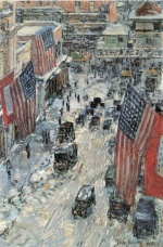 Childe Hassam  - Bilder Gemälde - Flaggen auf der Fifth Avenue, Winter 1918