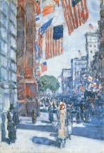 Childe Hassam  - Bilder Gemälde - Flaggen, Fifth Avenue