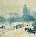 Childe Hassam  - Bilder Gemälde - Winter in Union Square