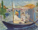 Edouard Manet - paintings - Claude Monet Painting on His Studio Boat