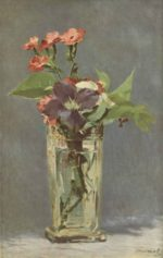 Edouard Manet - paintings - Clematis in a Crystal Vase