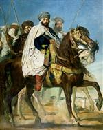 Theodore Chasseriau - Bilder Gemälde - Ali Ben Ahmed, the Last Caliph of Constantine, with his Entourage outside Constantine
