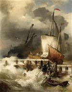 Andreas Achenbach - Bilder Gemälde - Arrival at the Mole by Stormy Sea